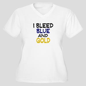 I Bleed Blue n Gold Women's Plus Size V-Neck T-Shi