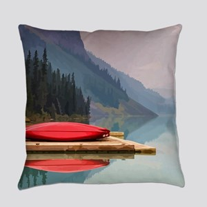 Mountain Lake Red Canoe Peaceful Landscape Everyda