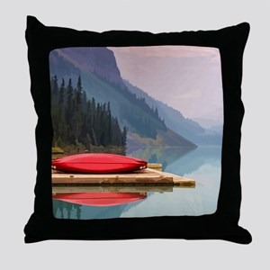 Mountain Lake Red Canoe Peaceful Landscape Throw P