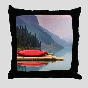 Mountain Lake Red Canoe Peaceful Landscape Throw P