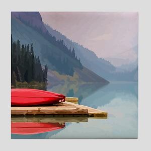 Mountain Lake Red Canoe Peaceful Landscape Tile Co