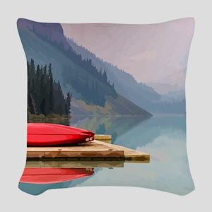 Mountain Lake Red Canoe Peaceful Landscape Woven T