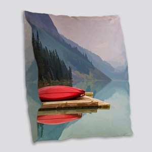 Mountain Lake Red Canoe Peaceful Landscape Burlap