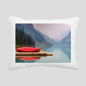 Mountain Lake Red Canoe Peaceful Landscape Rectang
