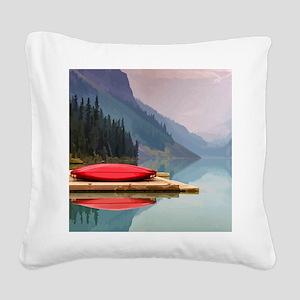 Mountain Lake Red Canoe Peaceful Landscape Square