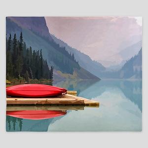 Mountain Lake Red Canoe Peaceful Landscape King Du