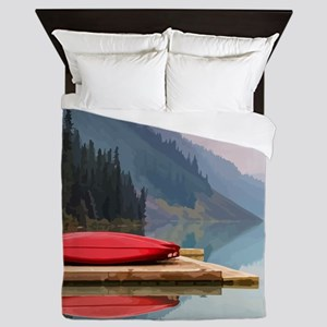 Mountain Lake Red Canoe Peaceful Landscape Queen D