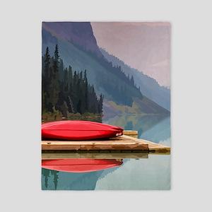 Mountain Lake Red Canoe Peaceful Landscape Twin Du
