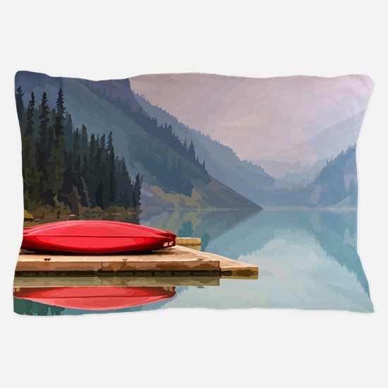 Mountain Lake Red Canoe Peaceful Landscape Pillow