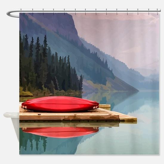 Mountain Lake Red Canoe Peaceful Landscape Shower