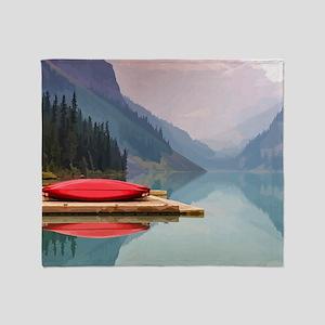 Mountain Lake Red Canoe Peaceful Landscape Throw B