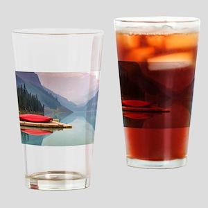 Mountain Lake Red Canoe Peaceful Landscape Drinkin
