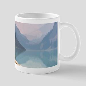 Mountain Lake Red Canoe Peaceful Landscape Mugs