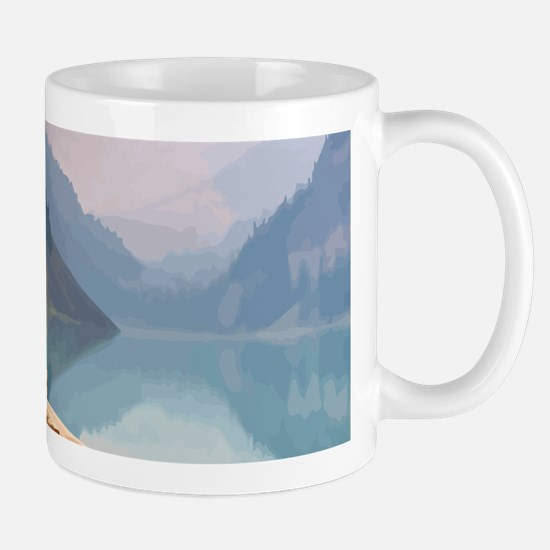 Mountain Lake Red Canoe Peaceful Landscape Mugs
