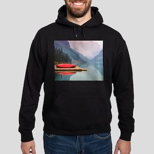 Mountain Lake Red Canoe Peaceful Landscape Hoodie