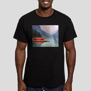 Mountain Lake Red Canoe Peaceful Landscape T-Shirt