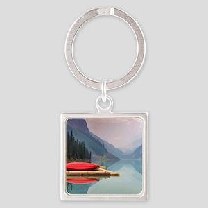 Mountain Lake Red Canoe Peaceful Landscape Keychai