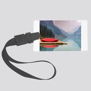 Mountain Lake Red Canoe Peaceful Landscape Large L