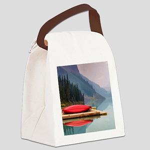 Mountain Lake Red Canoe Peaceful Landscape Canvas