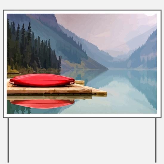 Mountain Lake Red Canoe Peaceful Landscape Yard Si