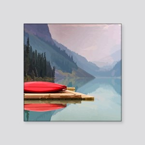 Mountain Lake Red Canoe Peaceful Landscape Sticker