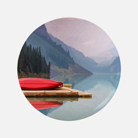Mountain Lake Red Canoe Peaceful Landscape Button