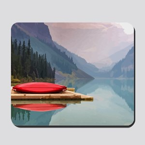 Mountain Lake Red Canoe Peaceful Landscape Mousepa
