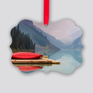 Mountain Lake Red Canoe Peaceful Landscape Picture