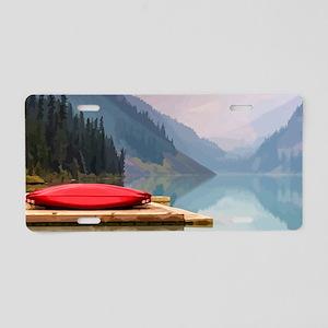 Mountain Lake Red Canoe Peaceful Landscape Aluminu