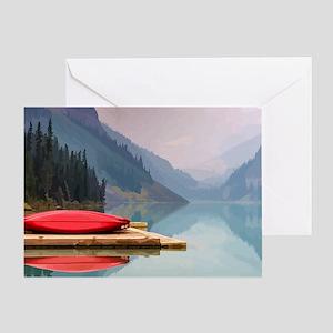 Mountain Lake Red Canoe Peaceful Greeting Cards