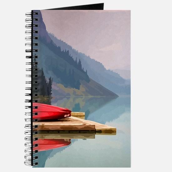 Mountain Lake Red Canoe Peaceful Landscape Journal