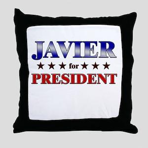 JAVIER for president Throw Pillow