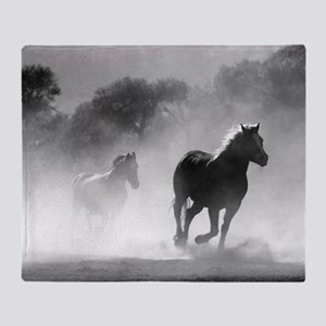 Beautiful Horses Running in the Dusty landscape Th