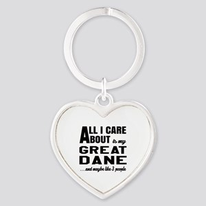 All I care about is my Great Dane D Heart Keychain