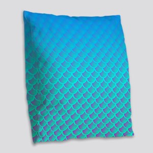 Mermaid Pattern In Aqua Blue and Purple Burlap Thr