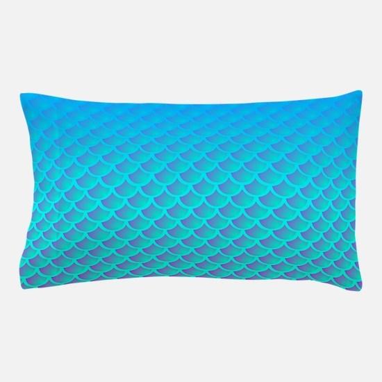 Mermaid Pattern In Aqua Blue and Purple Pillow Cas