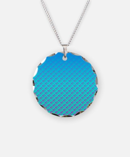 Mermaid Pattern In Aqua Blue and Purple Necklace
