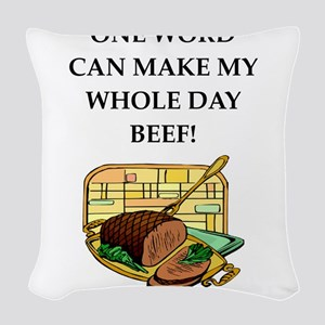 beef Woven Throw Pillow