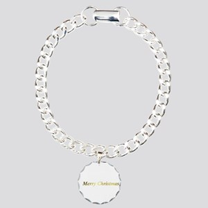 gold merry christmas tex Charm Bracelet, One Charm