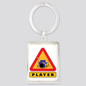 Drumset Player Caution Sign Keychains