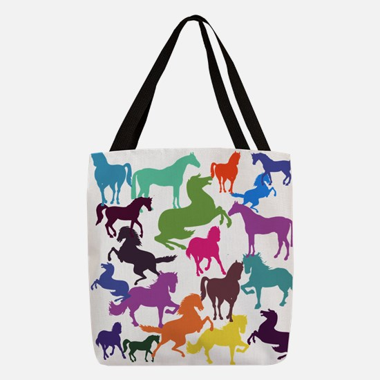 Rainbow Horses Polyester Tote Bag
