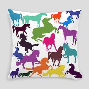 Rainbow Horses Everyday Pillow