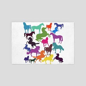 Rainbow Horses 4' x 6' Rug