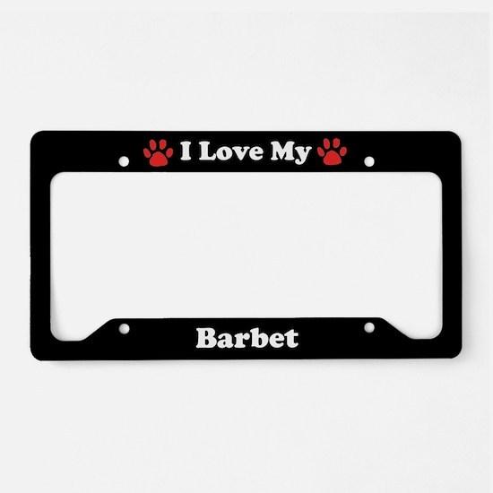 I Love My Barbet Dog License Plate Holder