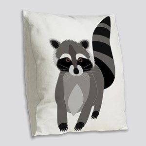 Rascally Raccoon Burlap Throw Pillow
