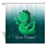 Personalised Wee Nessie From Scotland Shower Curta