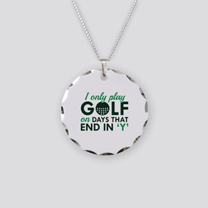 I Only Play Golf Necklace Circle Charm