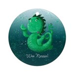 Personalisable Wee Scottish Nessie Round Ornament