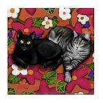 BLACK CAT & GREY TABBY CAT Tile Coaster