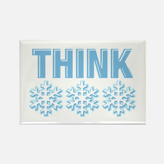 Think Snow Blue Rectangle Magnet